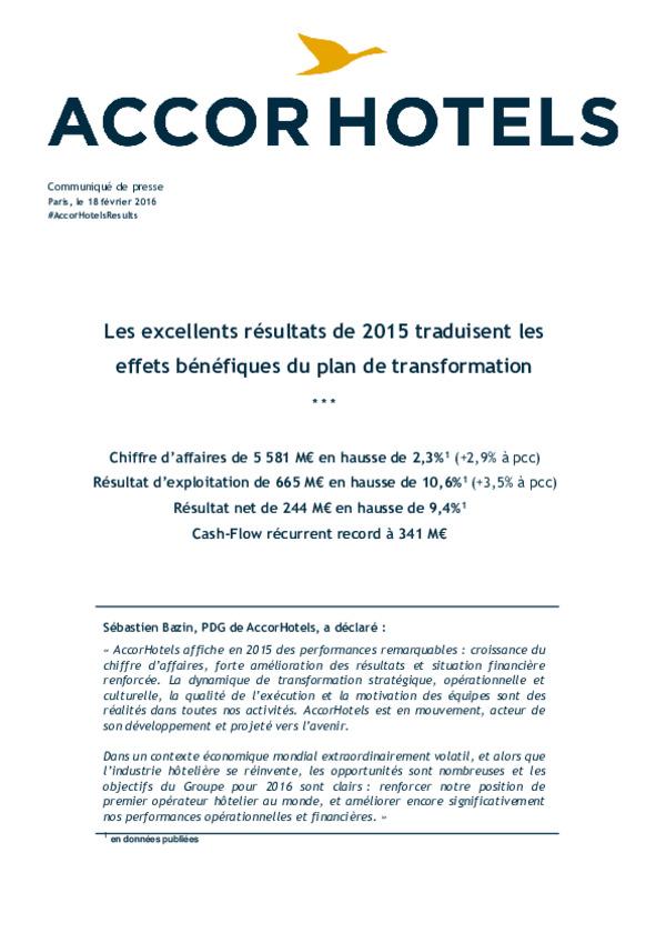 AccorHotels CP Résultats 2015 FR